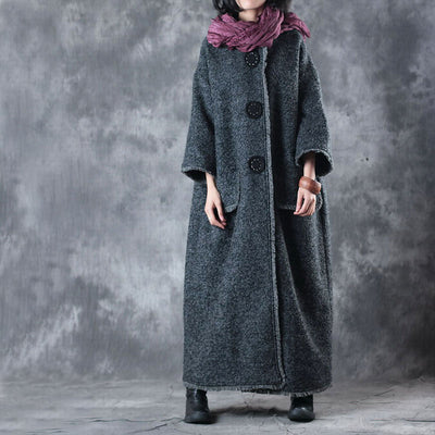 Women Loose Long Coat - Buykud