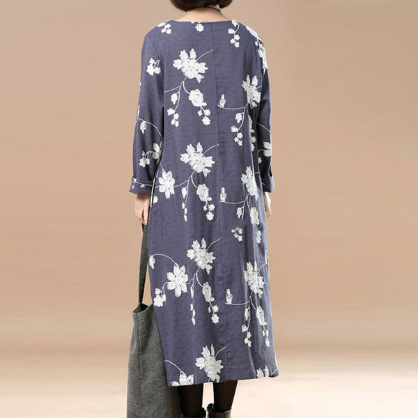 Spring Retro Linen Embroidered Loose Gray Blue Dress - Buykud