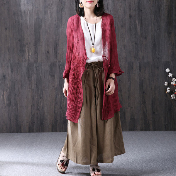 Summer Casual Loose Linen V Neck Red Coat