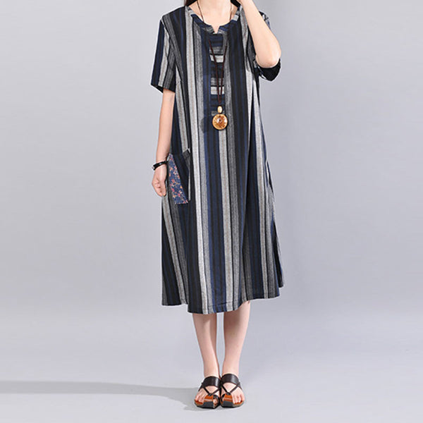 Women Loose Casual Cotton Stripe Summer Blue Dress - Buykud