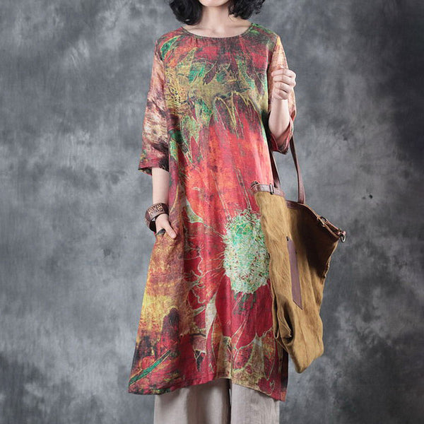 Printed Round Neck Three Quarter Sleeve Summer Dress