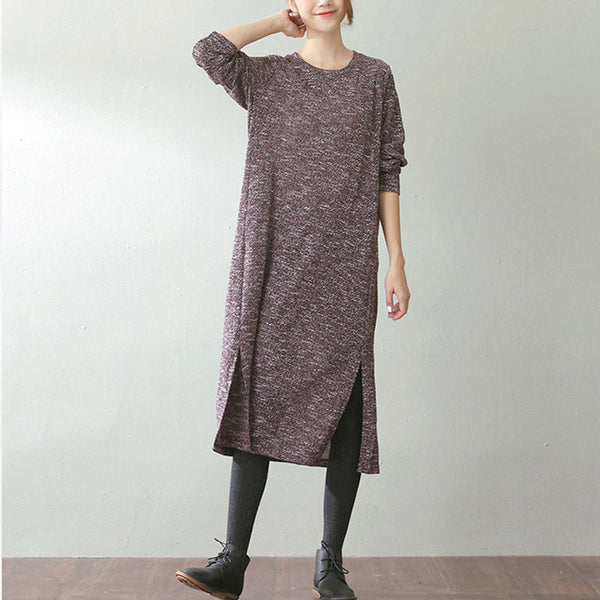 Spring And Autumn Color Mixture Wine Red Knitting Dress - Buykud