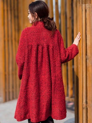 Red Loose Wool Coat - Buykud