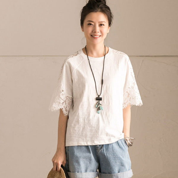 Summer Splicing Loose Women Hollowed Lace Casual White Shirt - Buykud