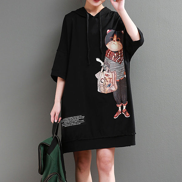Hoodie Loose 1/2 Sleeve Printed Black Short Dress