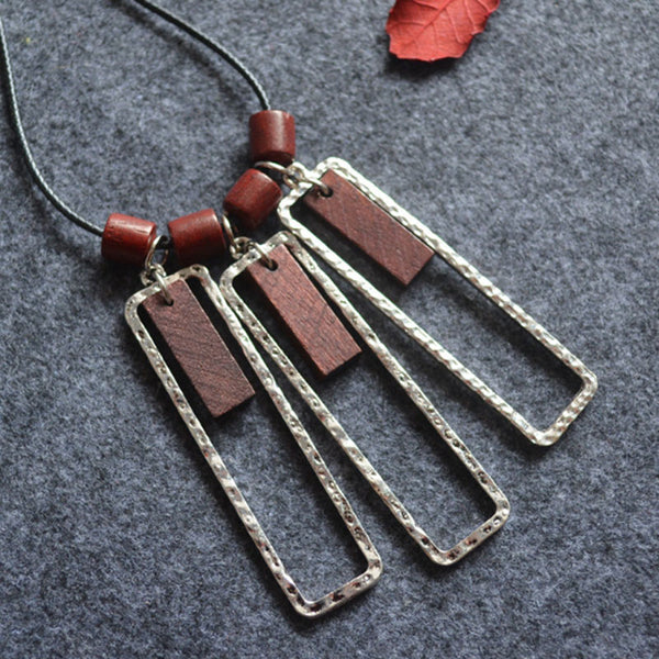 Geometric Wooden Beads Block Pendant Necklaces
