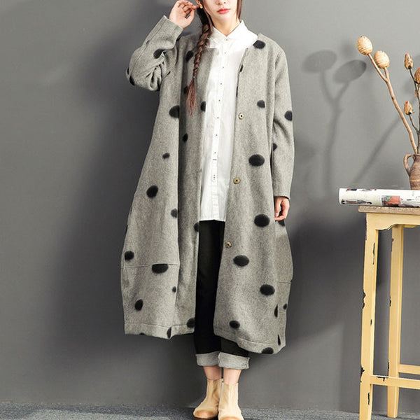 Winter Dots Loose Gray Overwear