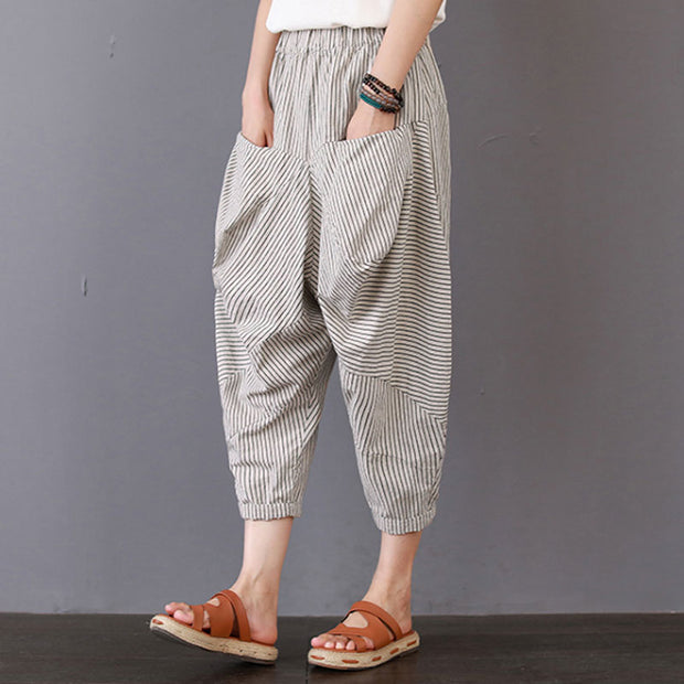 Summer Women Casual Stripe Long Beige Pants