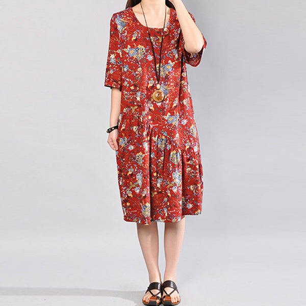Cotton Floral Women Printing Summer Red Dress
