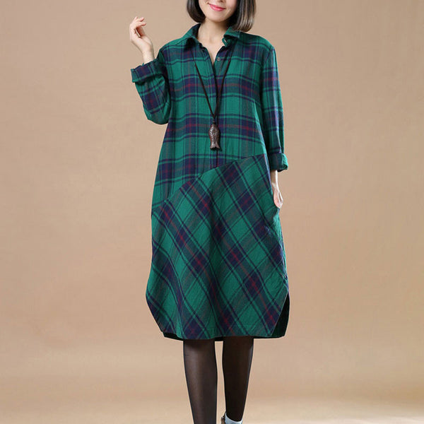 Spring Lattice Splicing Large Size Casual Green Dress