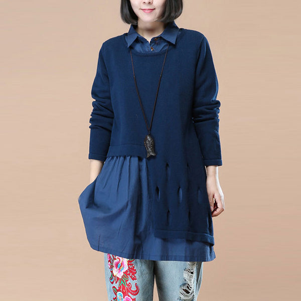 Polo Collar Long Sleeves Chic Hollowed Fake Two Piece Navy Blue Women Shirt - Buykud