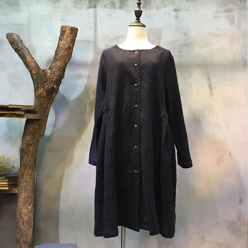 Linen Round Neck Casual Single Breasted Black Long Shirt - Buykud