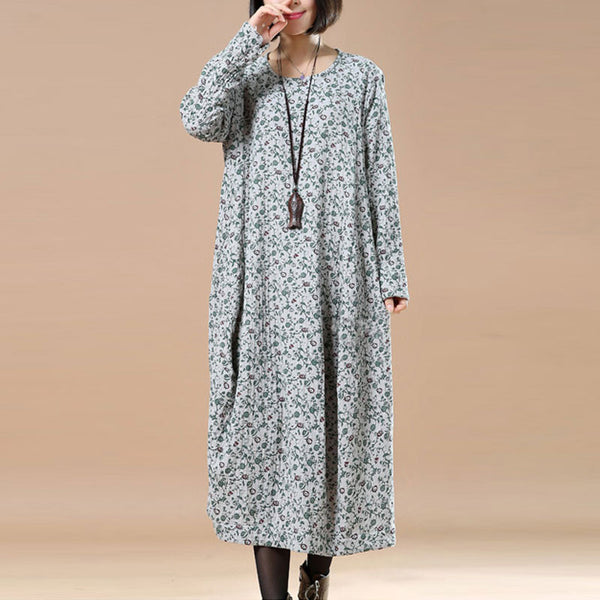 Cotton Linen Loose Spring Fall Floral Long Sleeve Dress