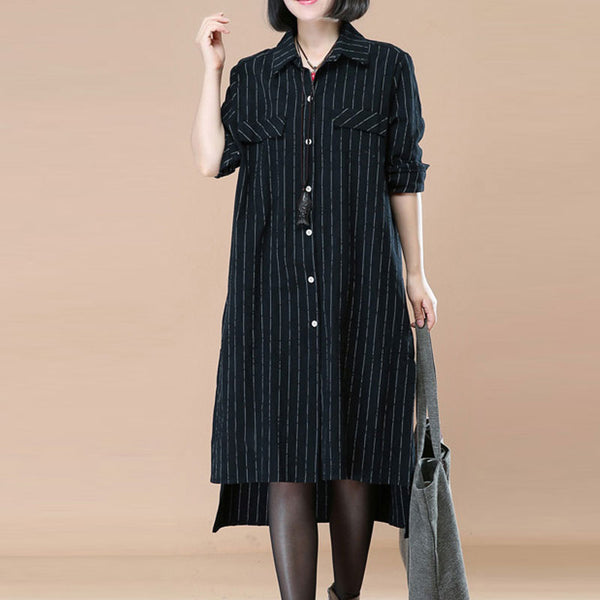 Polo Collar Single Breasted Stripe Black Long Sleeve Side Slit Dress - Buykud