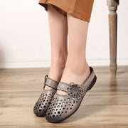Summer Hollowed Flower Slippers Leather Gray Shoes
