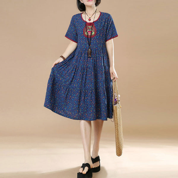 Summer Ethnic Floral Short Sleeves Women Blue Dress