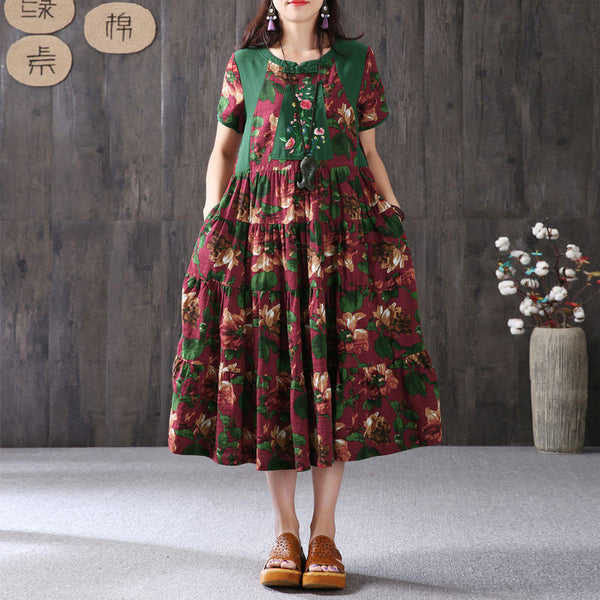 Women Retro Frog Printing Short Sleeve Dress - Buykud