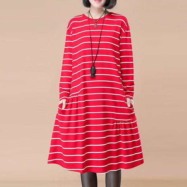 Women Long Sleeve Pleated Pockets Loose Casual Red Stripe Dress - Buykud