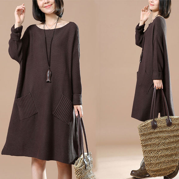 Long Sleeve Pocket Dark Brown Sweater
