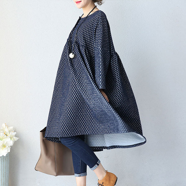 Casual Knitted Cotton Blue Jacket - Buykud