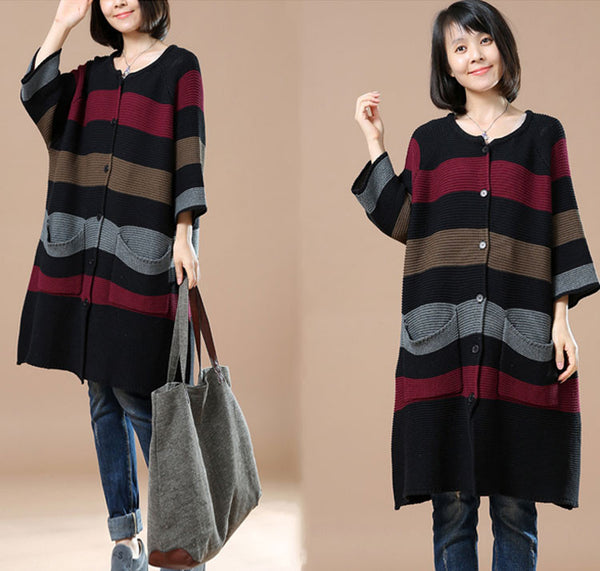 Autumn Long Sleeve Striped Cardigan Black Sweater