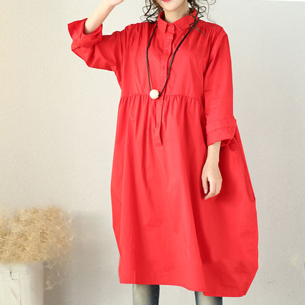 Spring High Waist Loose Red Pleated Dress