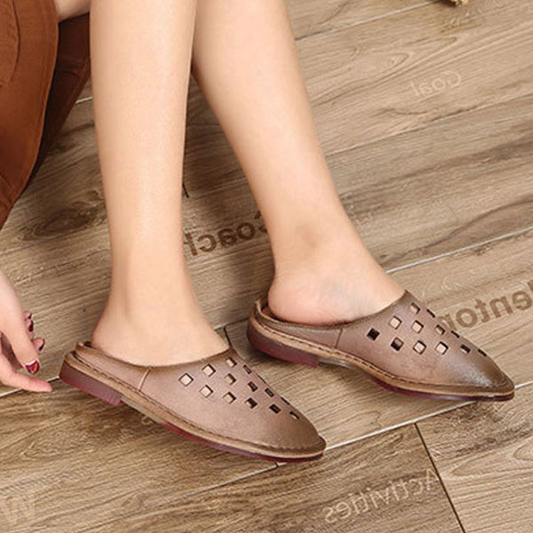 Summer Leather Slippers Women Hollowed Brown Shoes