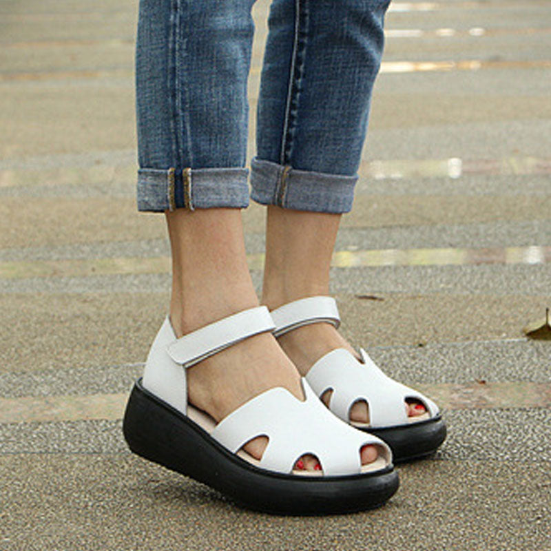 8986339a365 Women Summer Sandals Casual White Wedge Heel Shoes - BUYKUD