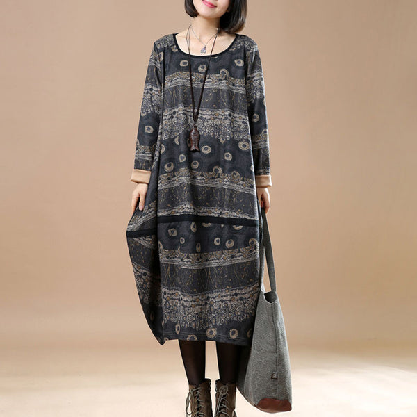 Retro Round Neck Printing Spring Women Gray Dress