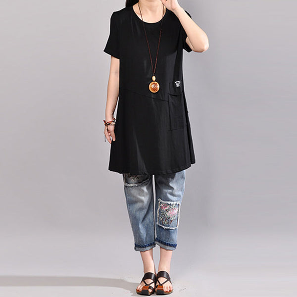 Casual Round Neck Short Sleeve Women Black T Shirt