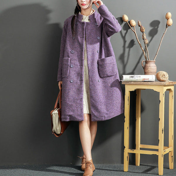 Loose Elegant Double Breasted Purple Coat