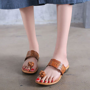 Women Summer Portable Khaki Slippers Cowhide Shoes
