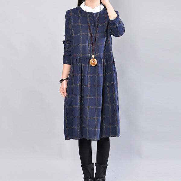 Autumn Casual Lattice Women Long Sleeve Blue Dress - Buykud