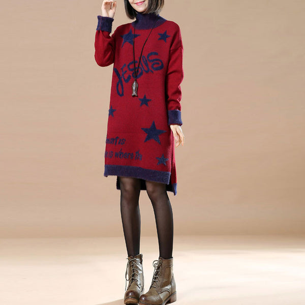 Splicing Turtleneck Winter Red Dress - Buykud