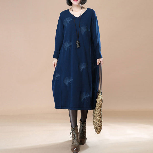 Women V-Neck Navy Blue Long Sleeve Printing Casual Literature Dress - Buykud