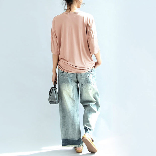 Modal Summer Women Loose Casual Plain Light Pink Shirt - Buykud