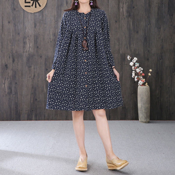 Graceful Women Printing Cape Collar Pleated Long Sleeves Navy Blue A-line Dress - Buykud
