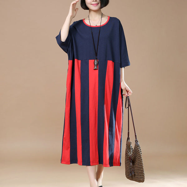 Women Stripe Loose Casual Printing Cotton Navy Blue Dress - Buykud