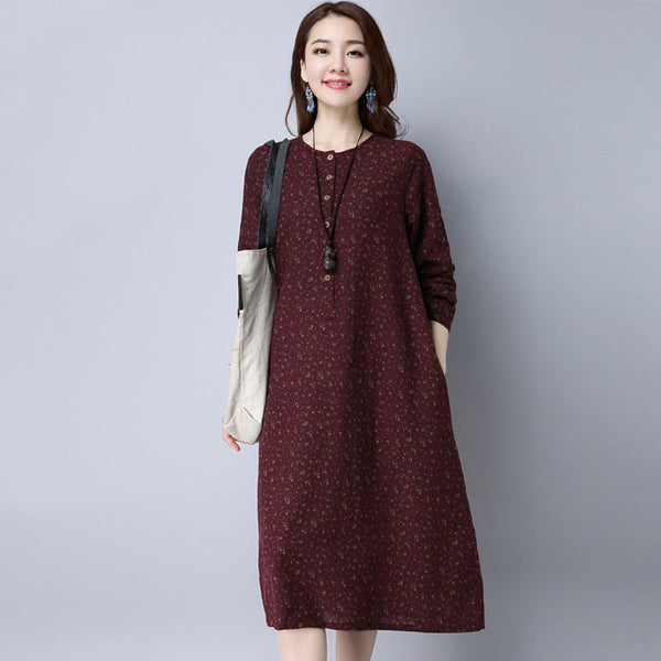 Floral Women Loose Retro Cotton Red Dress