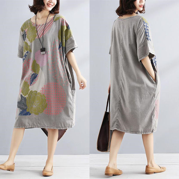 Literature Short Seeves Chic Printing Pocket Loose Women Dress