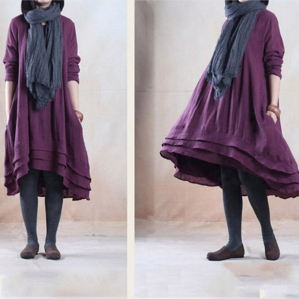 Purple Cotton Linen Crimp Loose Dress