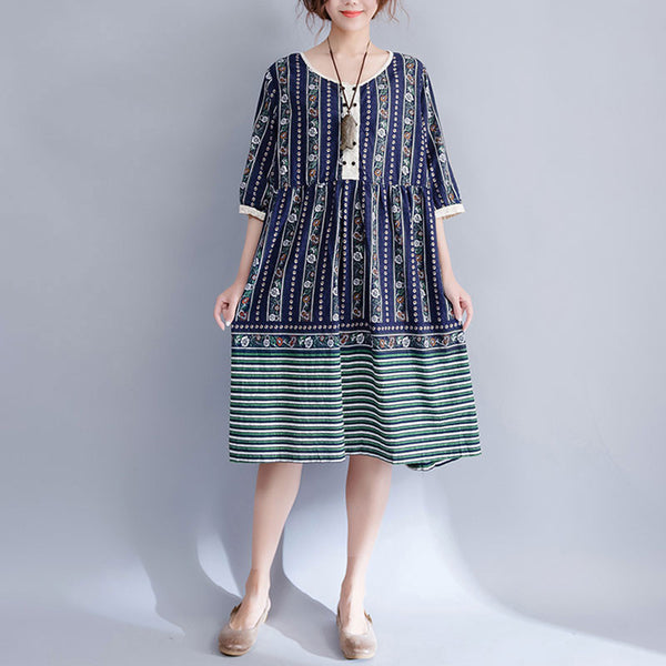 Summer Printing Loose Casual Women Cotton Linen Short Sleeves Blue Dress - Buykud