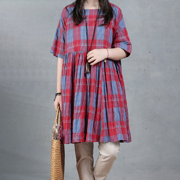 Round Neck Summer Cotton Red Lattice Dress - Buykud