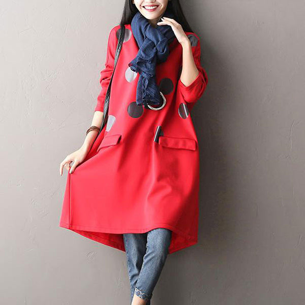 Red Printed Long Sleeved Cotton Dress