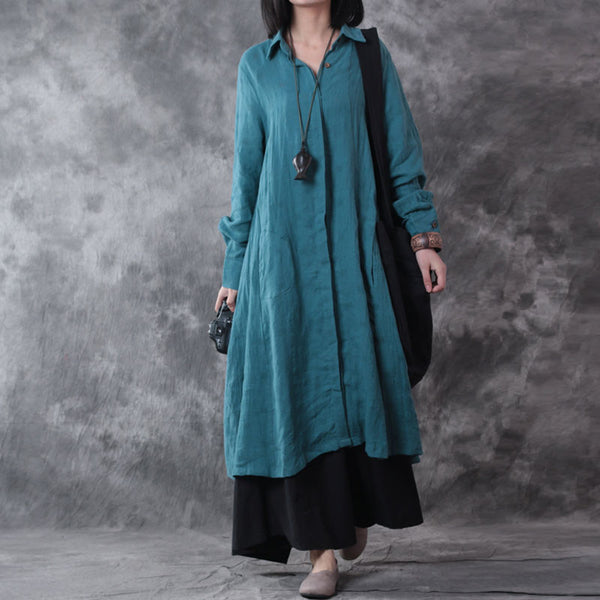 Women Long Sleeve Linen Shirt Dress Blue
