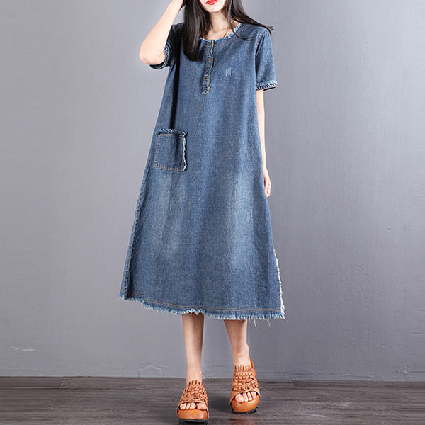 Women Short Sleeve Distressed Blue Denim Dress - Buykud