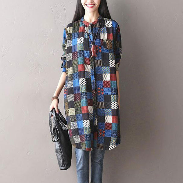 Plaid Stitching Cotton Linen Shirt