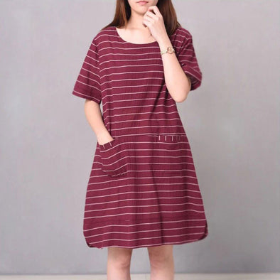 Casual Round Neck Stripe Pocket Women Short Sleeves Red Dress - Buykud