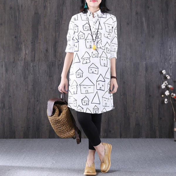 Women Cotton Linen Loose Polo Neck Shirt Blouse