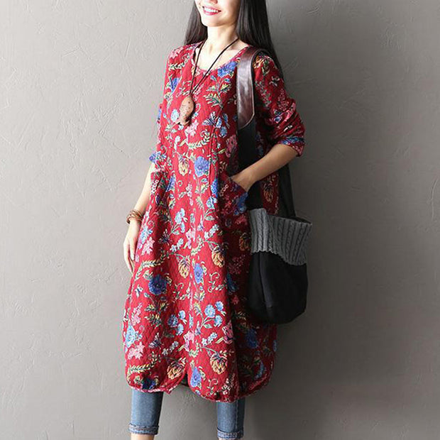 Women Print Casual Loose Cotton Dress - Buykud